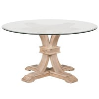 "Devon 54"" Round Glass Dining Table Stone Wash"