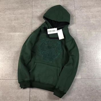 Kenzo Fashion Hooded Embroidery Solid color Top Pullover Sweater Hoodie