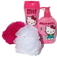 Hello Kitty Bath & Body Set (Bubble Bath, 2 Body Sponges & Hand Soap)
