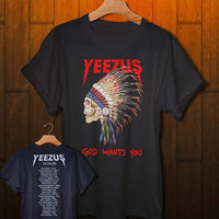 kanye west tour shirt kanye west shirt yeezus tshirt 2 side design black white and gray colors available for men and women clothing