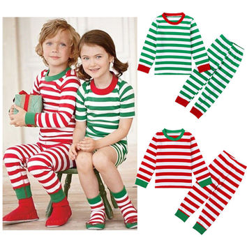 Kids Christmas Pajamas Sets Baby Kid Boys Girls Sleepwear Green Striped Christmas Pajamas Set cotton Nightwear Baby Clothes Sets