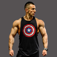 2017 Bodybuilding Men's Tank Top Black With Red & White Circling Star