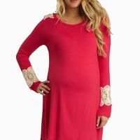 Fuchsia Open Crochet Accent Maternity Top