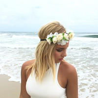 Luminous Floral Headband In Ivory