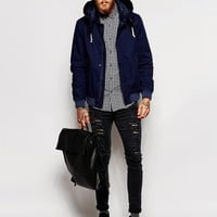 ASOS Twill Hooded Jacket In Navy