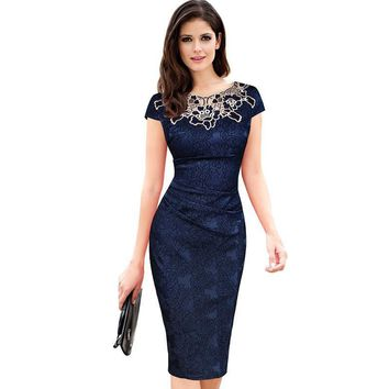 2017 Fashion Womens Embroidery Elegant Vintage Dobby Fabric Hollow Out Embroidered Ruched Pencil Bodycon Evening Party Dress