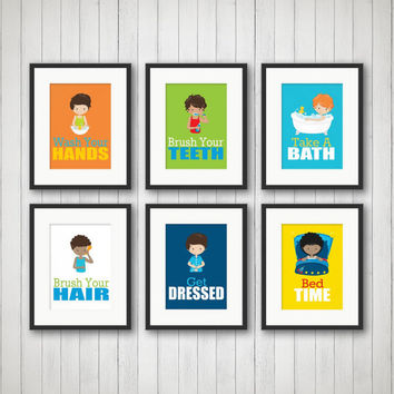 Boys Bathroom, Boys Bathroom Decor, Boys Bathroom Art, Bathroom Rules, Bathroom Art Prints, Boys Art, Pick 1, 2, 3, 4, 5 or all 6 Prints