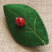 Ladybug on Leaf pin