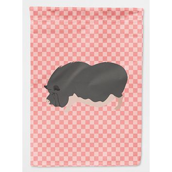 Vietnamese Pot-Bellied Pig Pink Check Flag Canvas House Size BB7941CHF