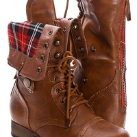 SOLID TAN FAUX LEATHER LACE UP FOLD OVER COMBAT BOOTS