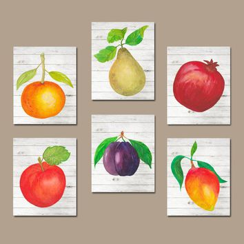Watercolor Food Kitchen Wall Art Decor Fruit Vege