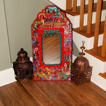 Large Colorful Traveling Gypsy Caravan Wall Mirror - Wanderlust - Free Shipping
