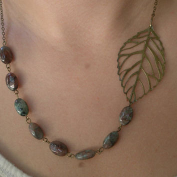 Leaf bib necklace- Filigree bib necklace- Asymmetrical beaded necklace- Antique bronze necklace-Beaded necklace- Leaf- Green- Brown
