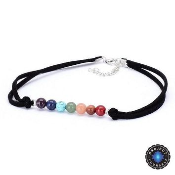 Natural Stones 7 Chakra Handmade Velvet Choker Necklace