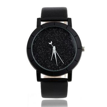 Solid Star Minimalist Fashion Women Watches For Lovers Leatheroid Strap Watch Women Ladies Wacth