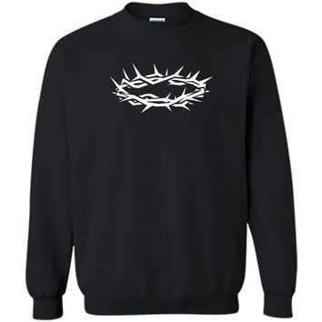 Christian Shirt - Jesus Crown of Thorn Good Friday & Easter Printed Crewneck Pullover Sweatshirt 8 oz