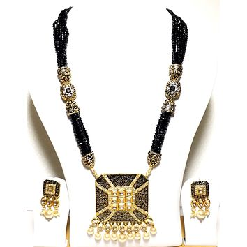Square Pendant with black crystal bead Long chain Necklace and Earring set