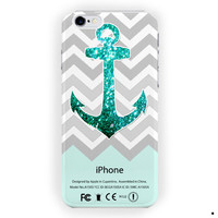 Personalized Mint Glitter Anchor For iPhone 6 / 6 Plus Case