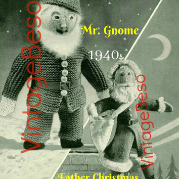 PDF Pattern - Mr. Gnome and Father Christmas SANTA 1940s Vintage Knit Pattern Doll Pattern Retro Christmas Knitting Pattern Instant Download