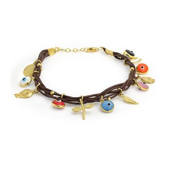 Evil Eye Charms Brown Leather Bracelet 14K Gold Plated Sterling Silver