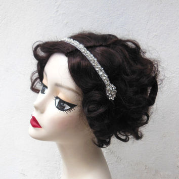 Flapper Headband, Hair Accessory, Great Gatsby, Costume Headpiece, Silver Beaded, Swarovski Crystal, Alternative Bridal
