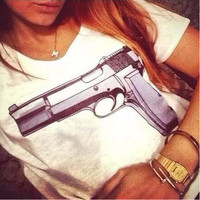 Dingtoll Summer Casual Brand Women T-shirts With Printed Gun Short Sleeve T shirts Stretch Tees Tops