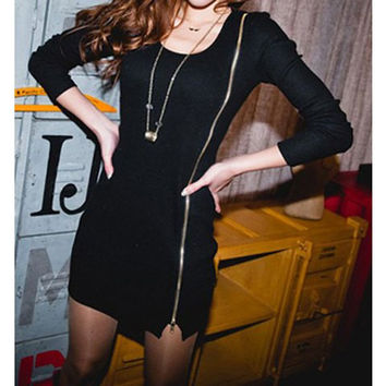 Black Long Sleeve Mini Dress with Zipper