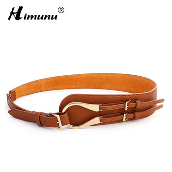 HIMUNU Brands Genuine Leather Cowskin Belts for Women Alloy Buckle Embossed Leather Cummerbunds Buckle Versatile Women's Girdle