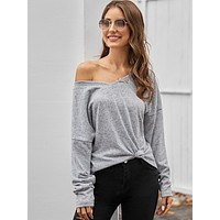 Double V Neck Heathered Gray Oversize Tee