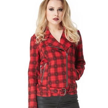 Jawbreaker Red Skull Plaid Rocker Jacket