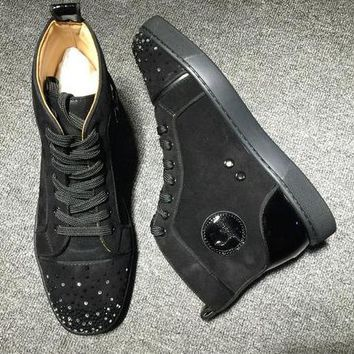 Cl Christian Louboutin High Suede Style #2236 Sneakers Fashion Shoes - Best Deal Online