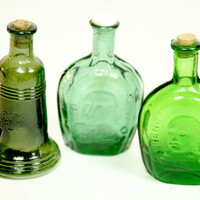 Three Mini Green Glass Bottles by LilytheDogVintage on Etsy