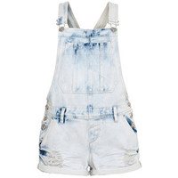 Parisian Pale Blue Faded Short Dungarees