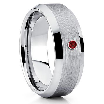 Ruby Tungsten Ring - Handmade - Tungsten Wedding Band - Men's Ring