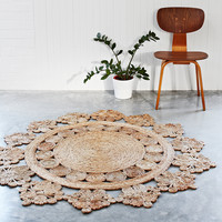 Hand Woven Doily Crochet Round Hemp Area Rug - Armadillo & Co