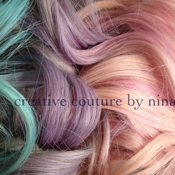 "Pastel Hair Extensions,Pink Purple and Blue Ombre,Complete Set,(7) Pieces,18"",Clip In Hair Extensions"