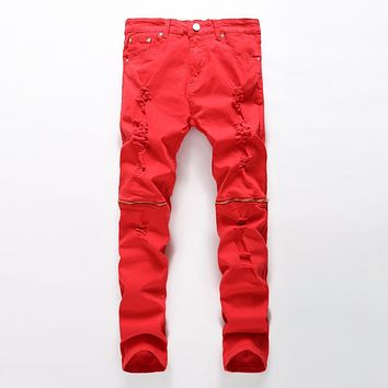 New Fashion Men Ripped Designer Jeans Pants Slim Fit Knee Zipper red Jeans Men Club Wear Bright Color Denim Jogger plus size 42