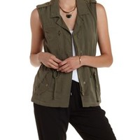 Olive Cotton Twill Military Vest by Charlotte Russe