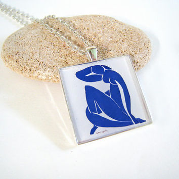 Matisse Nude Blue necklace. Art jewelry large square silver statement pendant, Paris travel France fauve abstract woman personalized