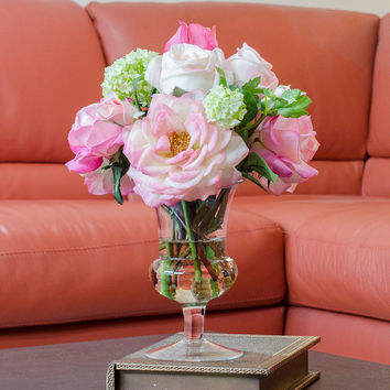 Real Touch Orlane Rose Arrangement with Bud Cabbage Rose Artificial Flowers in Glass Vase for Home Decor Artificial Faux Arrangement