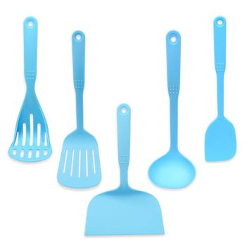 Blue Coated Coated Food Grade Nylon Cookware Spatula Scraper Colander Spoon Set Cooking Utensils Kitchen Tools Accessories