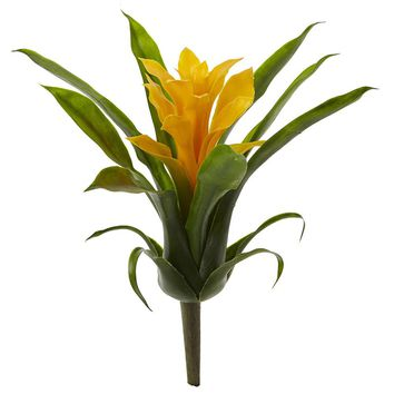 Silk Flowers -10 Inch Yellow Bromeliad Flower -Set Of 6 Flowers Artificial Plant