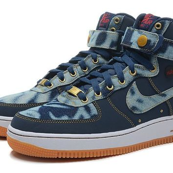 hcxx Nike Air Force 1 High Denim Blue For Women Men Running Sport Casual Shoes Sneakers