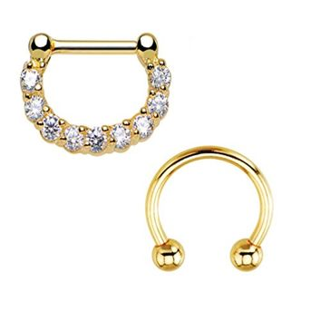 BodyJ4You Septum Clicker and Horseshoe Circular Barbell 14 Gauge Body Jewelry 2 Pieces