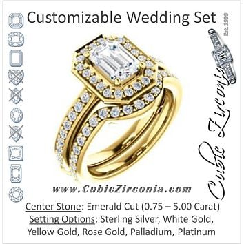 CZ Wedding Set, featuring The Sally engagement ring (Customizable Halo-Emerald Cut Design with Round Side Knuckle and Pavé Band Accents)