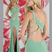 Sage Jersey Knit Long Prom Dress Xtreme 32258A