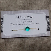 Wishing Bracelet with Teal Blue Green Glass Bead