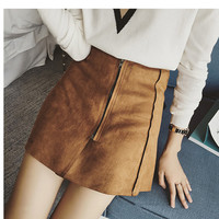 3 Colors Autumn Brown 2016 Leather Cashmere Skirt Fashion Casual Women Mini Skirt Plus Size XL A-line Skirts Womens Saia Jupe