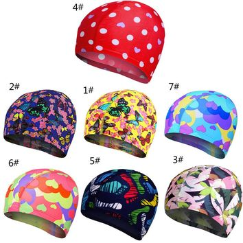 Swimming Caps Elastic Lovely Women Kids Cartoon Fabric Cute Cartoon Animal Protect Ears Boys Girls Swim Pool Caps Hat
