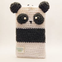 Amigurumi Panda Phone Case - Panda Phone Pouch - Panda Pouch - Crocheted Cell Phone Case - Cute iPhone Case - iPhone 6 Case - Crochet Pouch